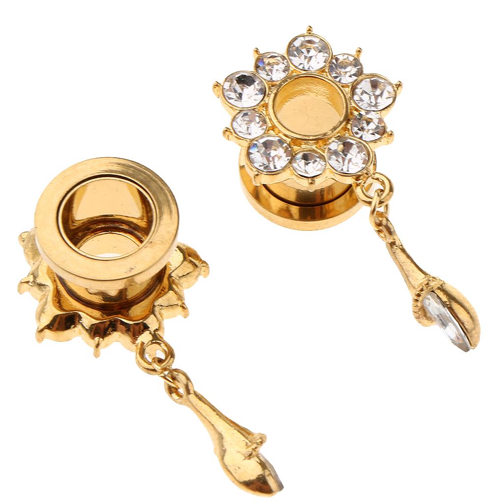 In-acciaio-inox-elegante-strass-fiore-orecchio-tunnel-ciondoli-calibri miniatura 15