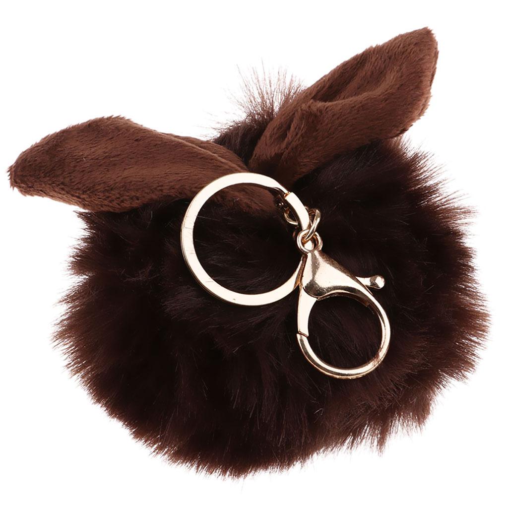 Charm-Handbag-Rabbit-Key-Chain-Key-Ring-Rabbit-Fur-Plush-Ball-Personal-Decor thumbnail 12