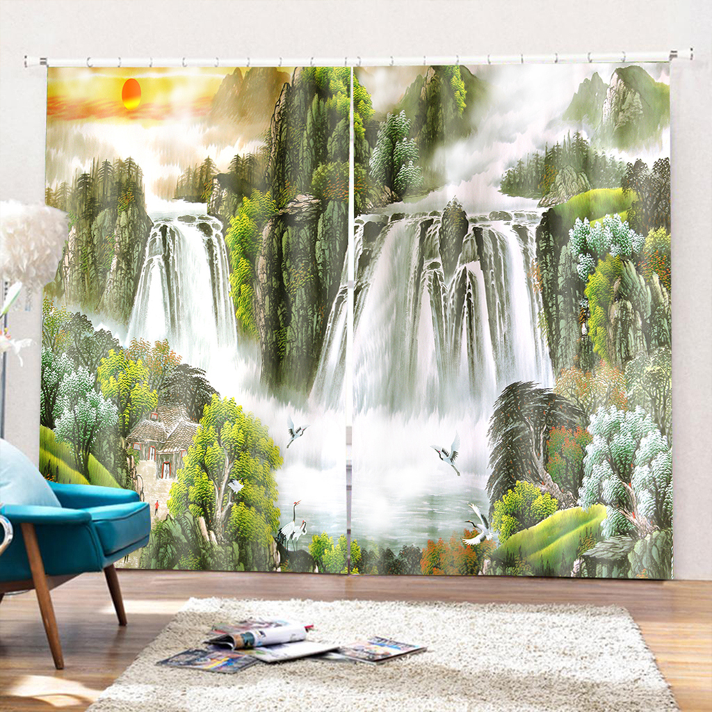 3d Printed Scenic Window Curtain Panels Grommet Curtain