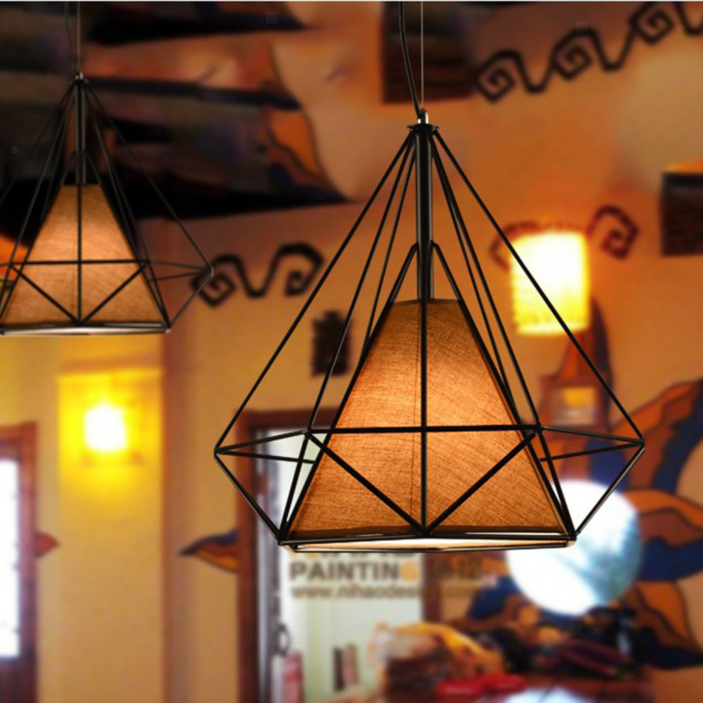Modern-Geometric-Diamond-Caged-Ceiling-Pendant-Light-Shade-Easy-Fit-Lampshade thumbnail 32