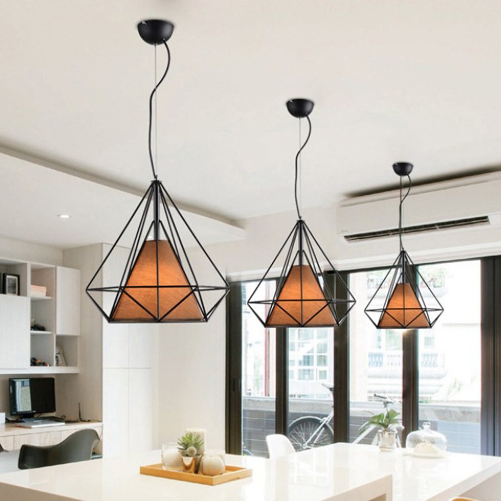 Modern-Geometric-Diamond-Caged-Ceiling-Pendant-Light-Shade-Easy-Fit-Lampshade thumbnail 26