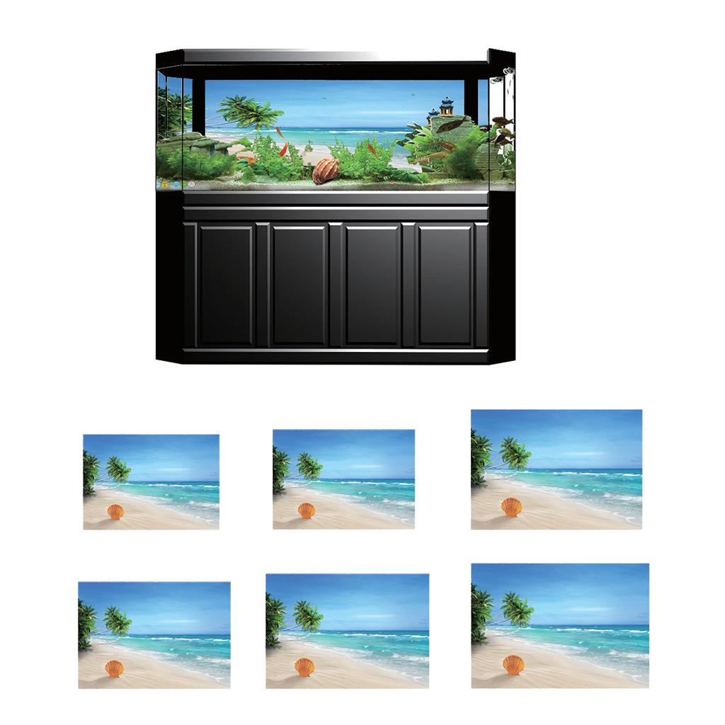 Immagine-3D-Acquario-Sfondo-Poster-Carro-Armato-Di-Pesce-Adesivo miniatura 5
