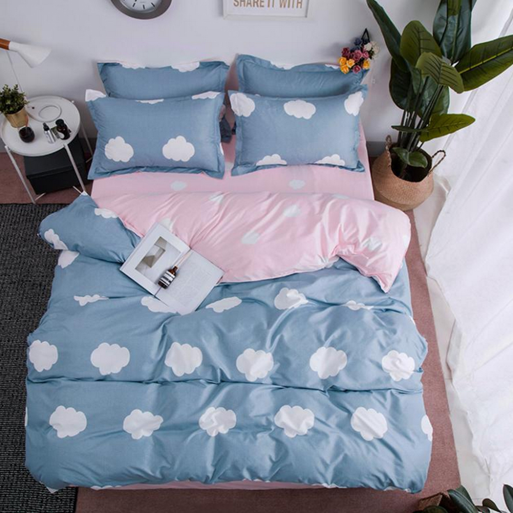 Fitted Bed Sheet 2 Pillowcases Full Set Bedding Line Cotton Duvet Quilt Cover
