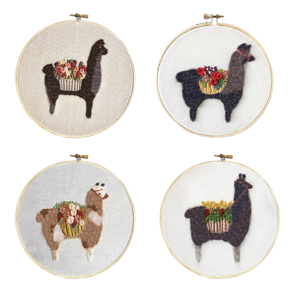 Cute-Alpaca-Pattern-DIY-Needlework-Kits-Stamped-Embroidery-Making-Kits thumbnail 4