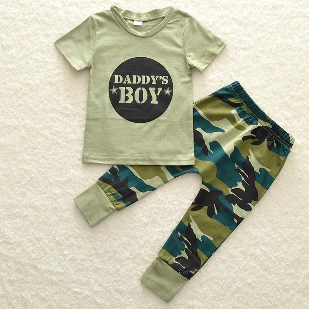 Bebe-Garcon-Fille-Camo-T-shirt-Hauts-Pantalons-Tenues-Ensemble-Vetements miniature 5
