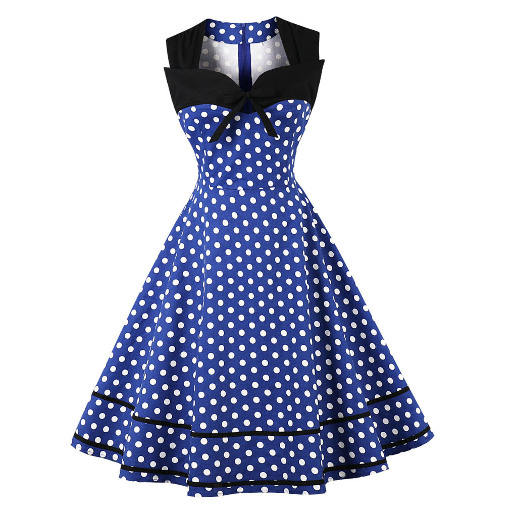 Vintage 50s Dress Polka Dots Printed Large Swing