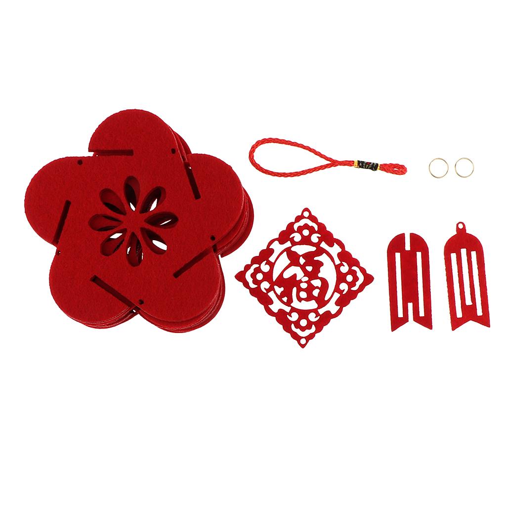 miniatura 9 - Lanterne floreali rosse fai-da-te Kit non tessuti artigianali Artigianato