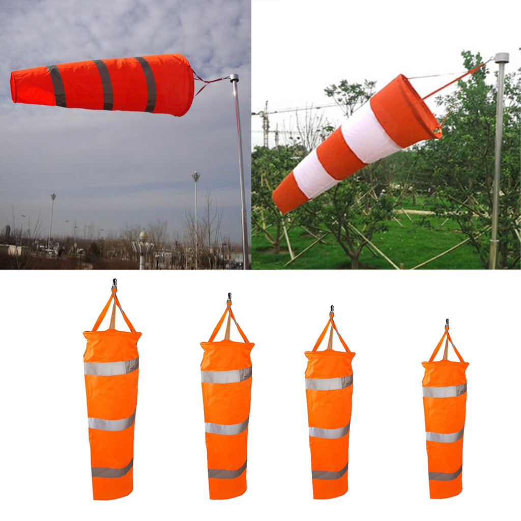 Airport-Windsock-Wind-Cone-60-80-100cm-Outside-Wind-Sock-w-Reflective-Belts thumbnail 3