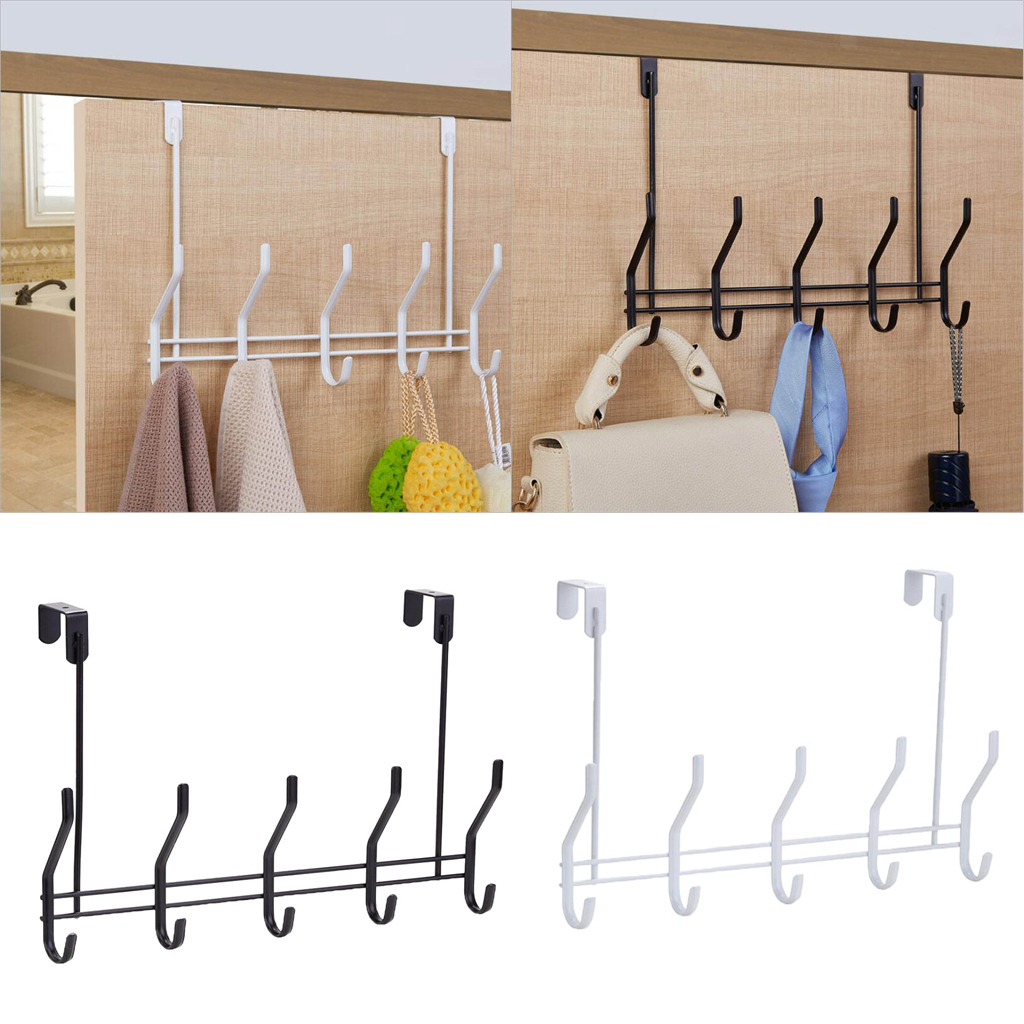 Over-The-Door-Hook-Rack-Iron-5-Hooks-Hanger-Storage-Holder-Hanging-Coat-Hat thumbnail 4