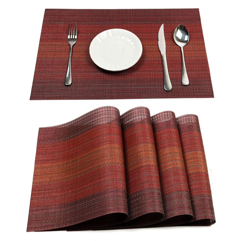 4Pcs-Placemats-Table-Kitchen-Place-Mats-Heat-Insulation-Washable-Table-Mats thumbnail 4