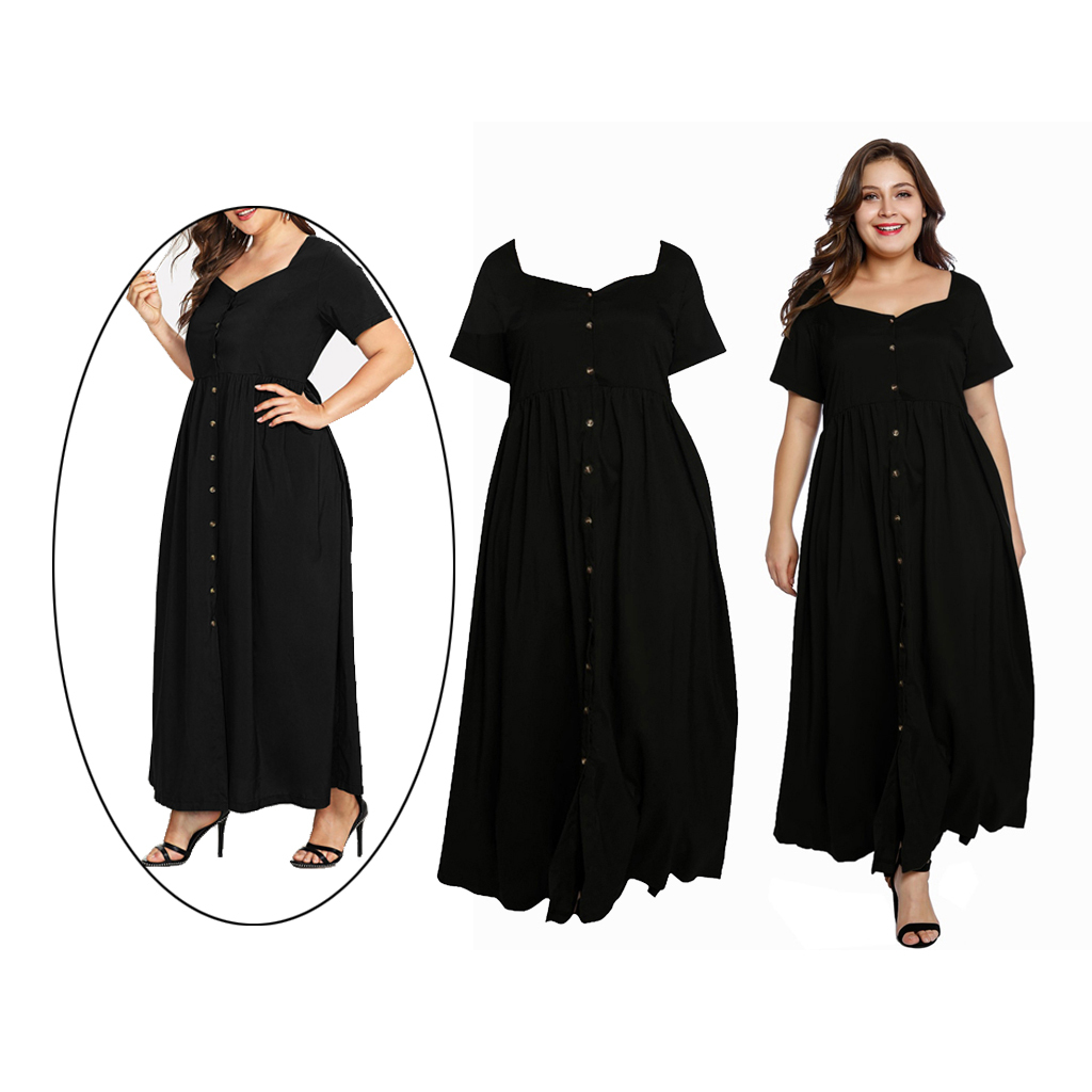 Damen Maxikleid Große Größen Kleid Lange Abendkleid