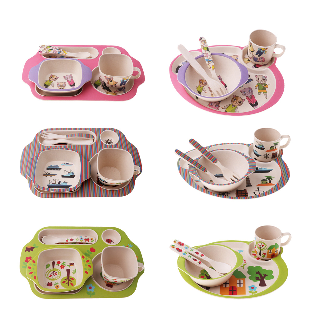 Cute Cartoon Baby Kids Bowl Food Feeding Training Bamboo Fiber Bowl Tableware UK