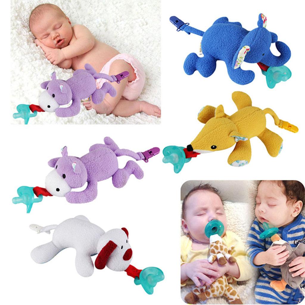 Baby-Schnuller-Halter,der entfernbare Plüsch-Tierpuppe-Spielzeug-Schnuller hängt
