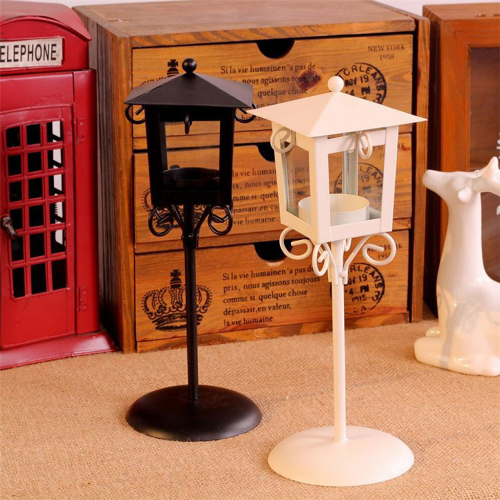 Details about White/Black Vintage Street Lamp Design Candle Holder Tea  Light Candlestick Stand