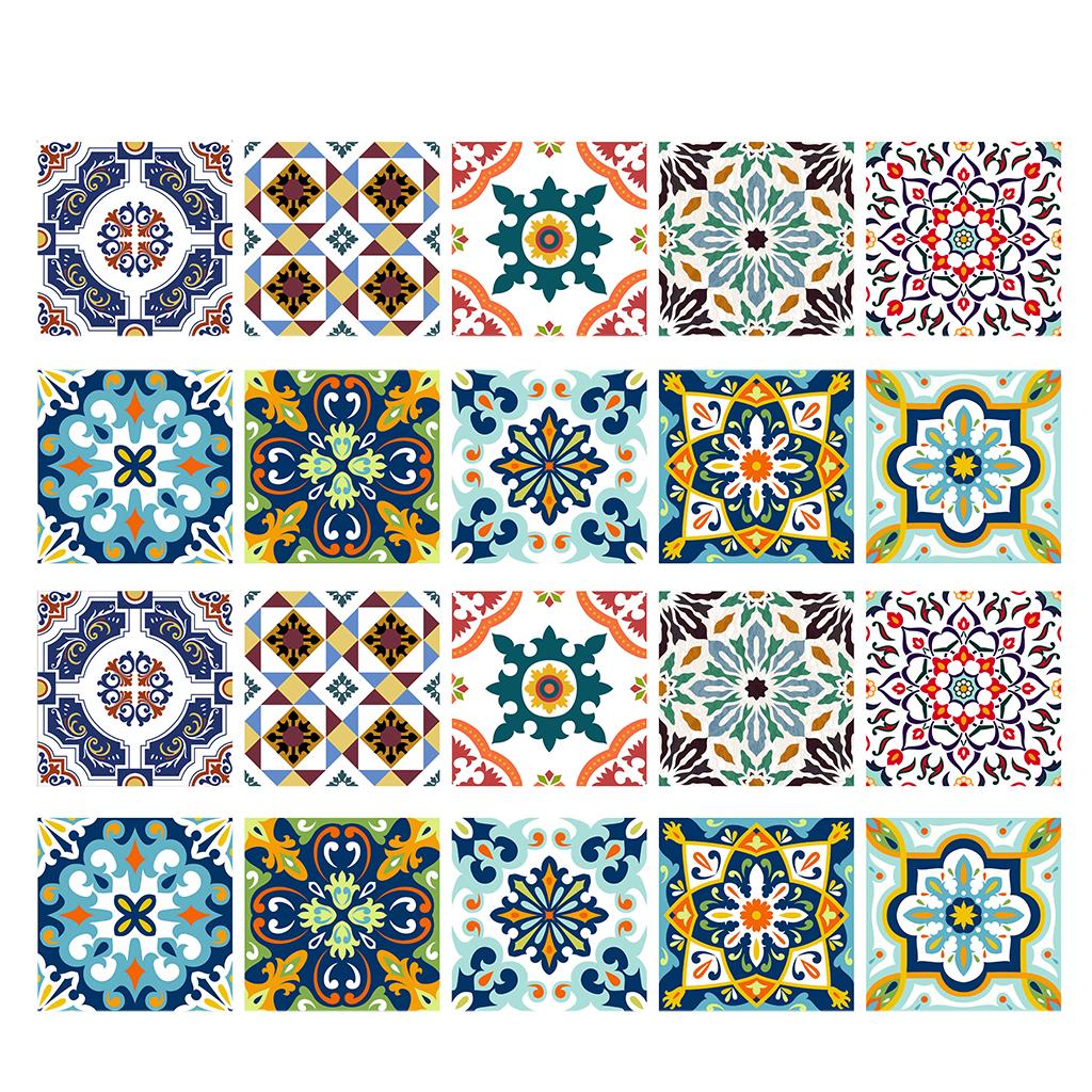 20-24PCS SelfAdhesive Mosaic Tile Sticker Kitchen Bathroom Wall Stickers Decor