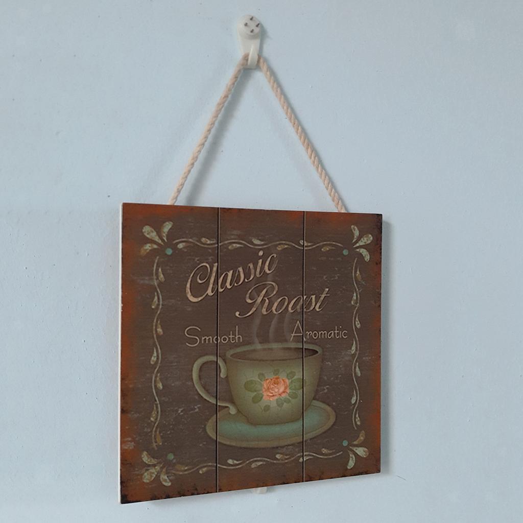 Targa-di-legno-del-segno-d-039-annata-per-la-decorazione-del-caffe miniatura 14