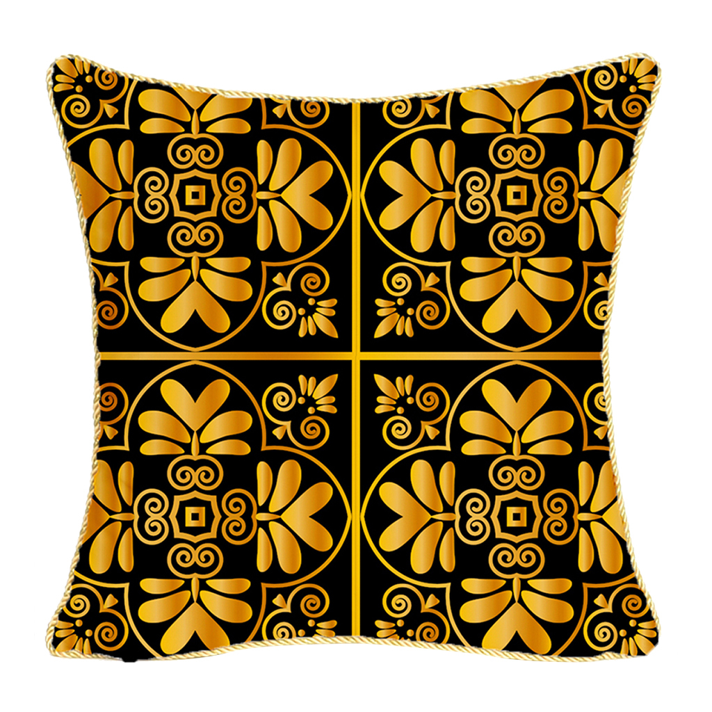 Square-Flannel-Pillowcase-Three-Stranded-Rope-Gold-Trimmed-Covers-Zipper miniature 9
