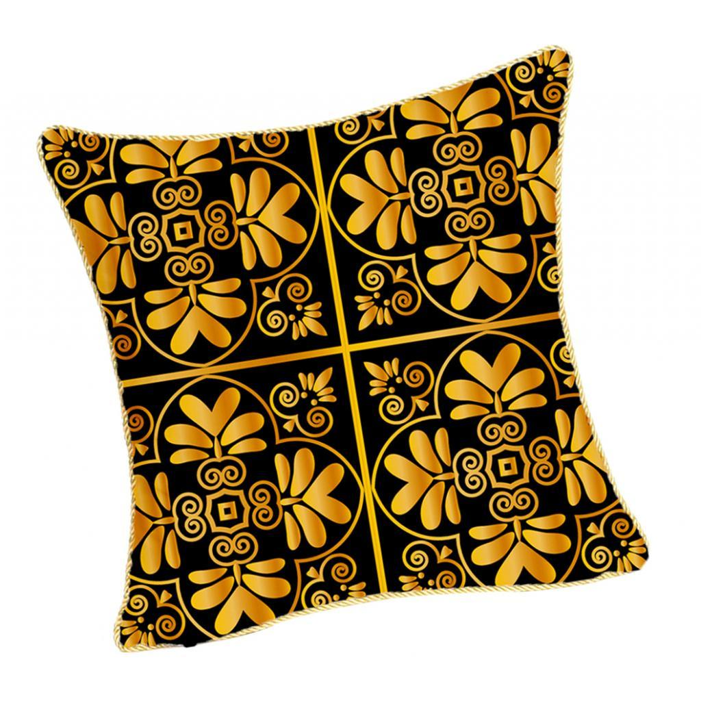 Square-Flannel-Pillowcase-Three-Stranded-Rope-Gold-Trimmed-Covers-Zipper miniature 11