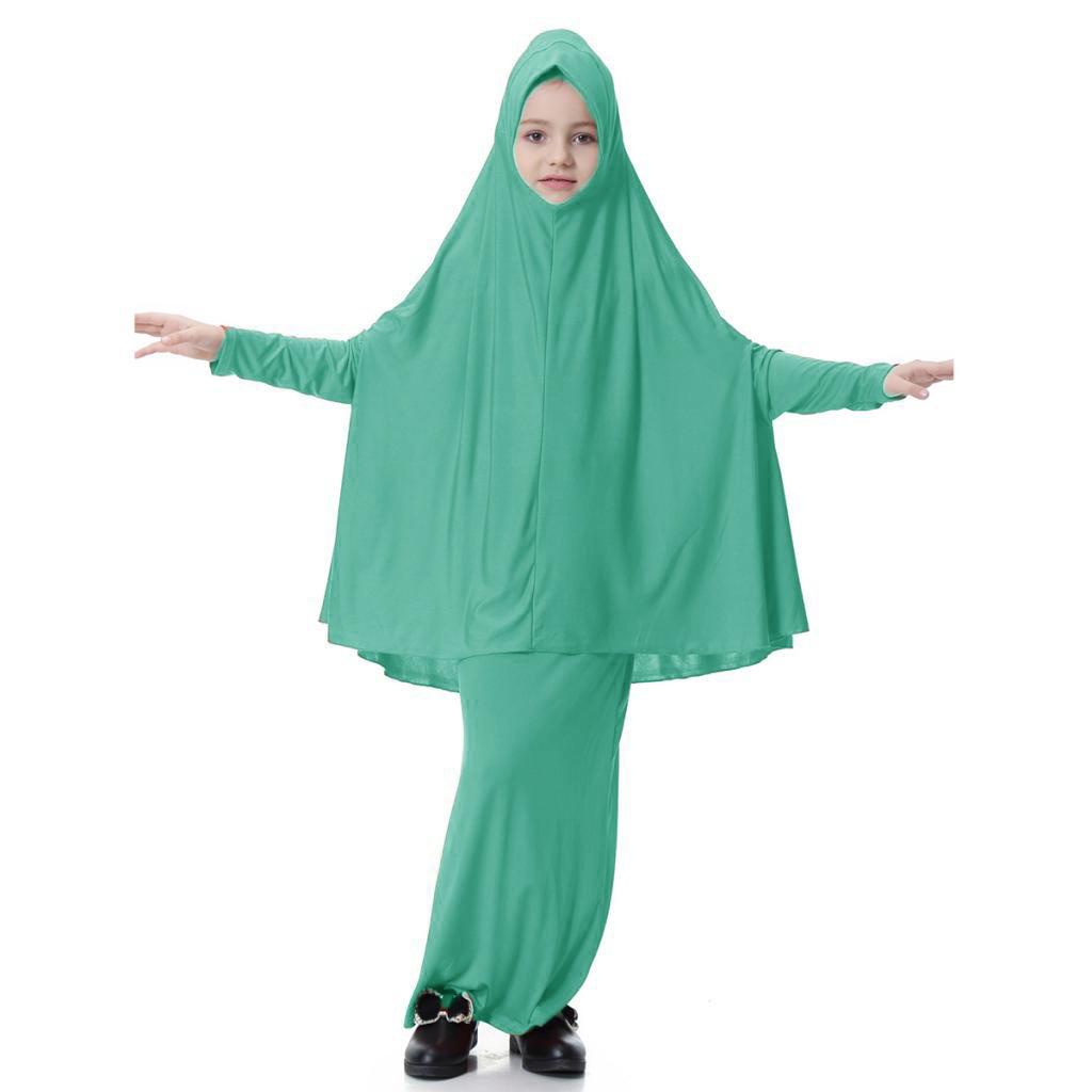 Fille-Robes-Musulmane-Islamique-a-Manches-Longues-Deux-Pieces-Priere-Robe miniature 63