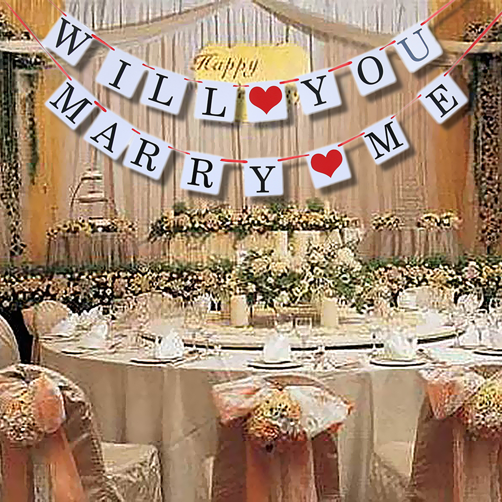 details about wedding theme bunting banner will you marry me/ we still do  party decor