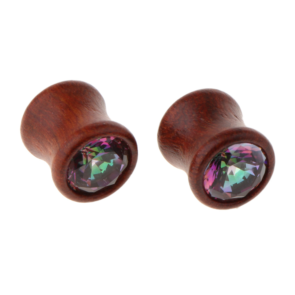 2Pcs-Barelle-per-calibri-tunnel-in-legno-di-zirconite-vintage-rosso-sandalo miniatura 9