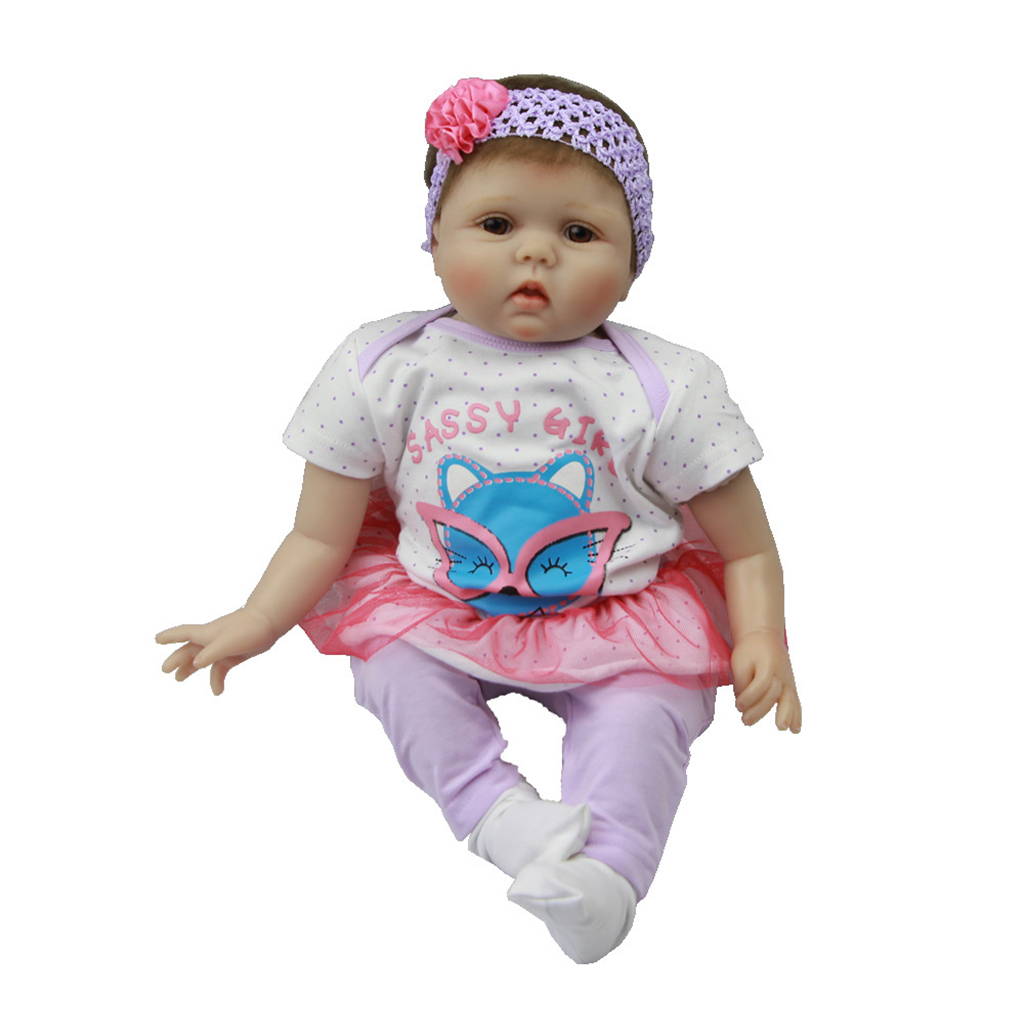 Lifelike-Baby-Dolls-Romper-Clothes-Headdress-for-22-039-039-23-039-039-Reborn-Baby-Girl-Doll thumbnail 9