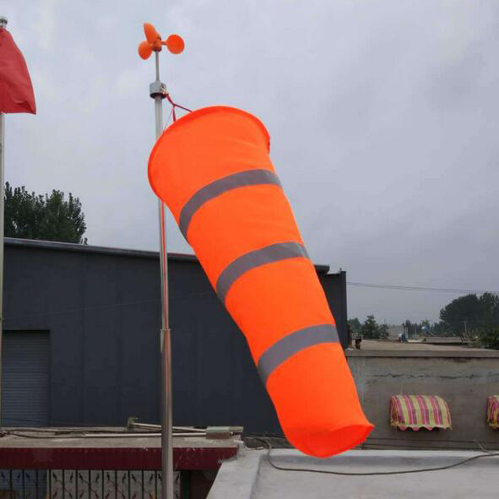 Airport-Windsock-Wind-Cone-60-80-100cm-Outside-Wind-Sock-w-Reflective-Belts thumbnail 5