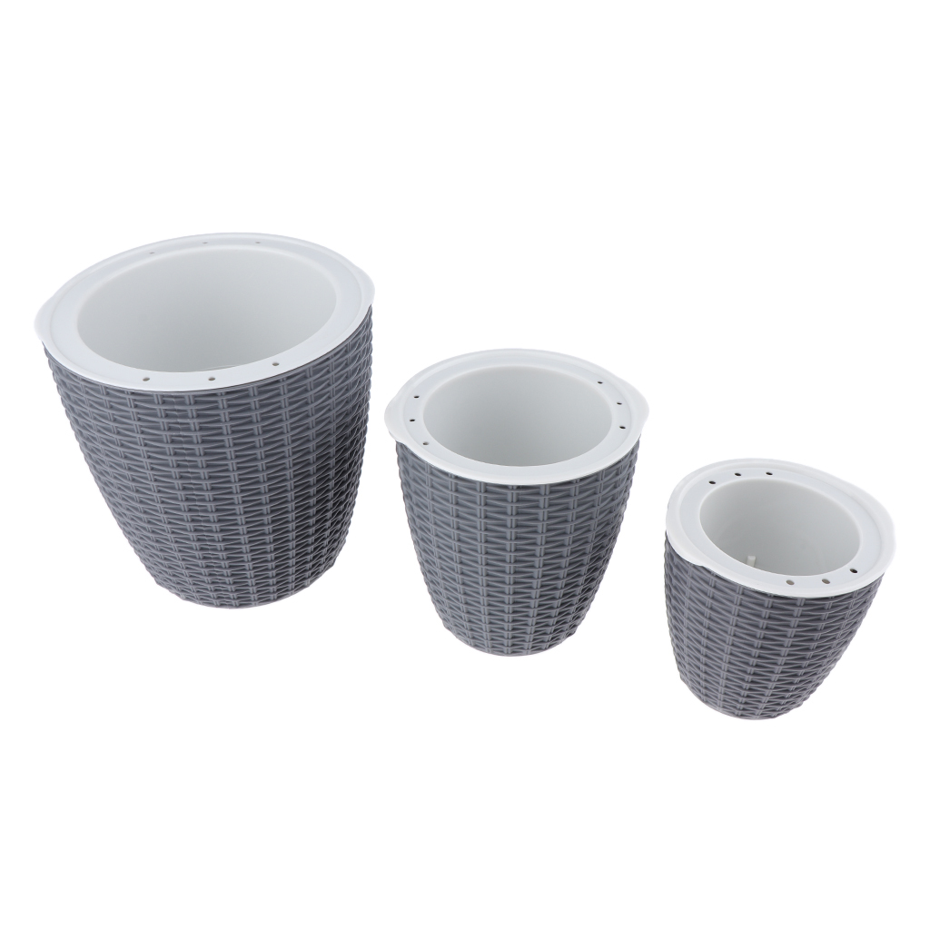 Self-Watering-ABS-Rattan-Flower-Pot-Plant-Home-Office-Decor-S-M-L-3Sizes thumbnail 4