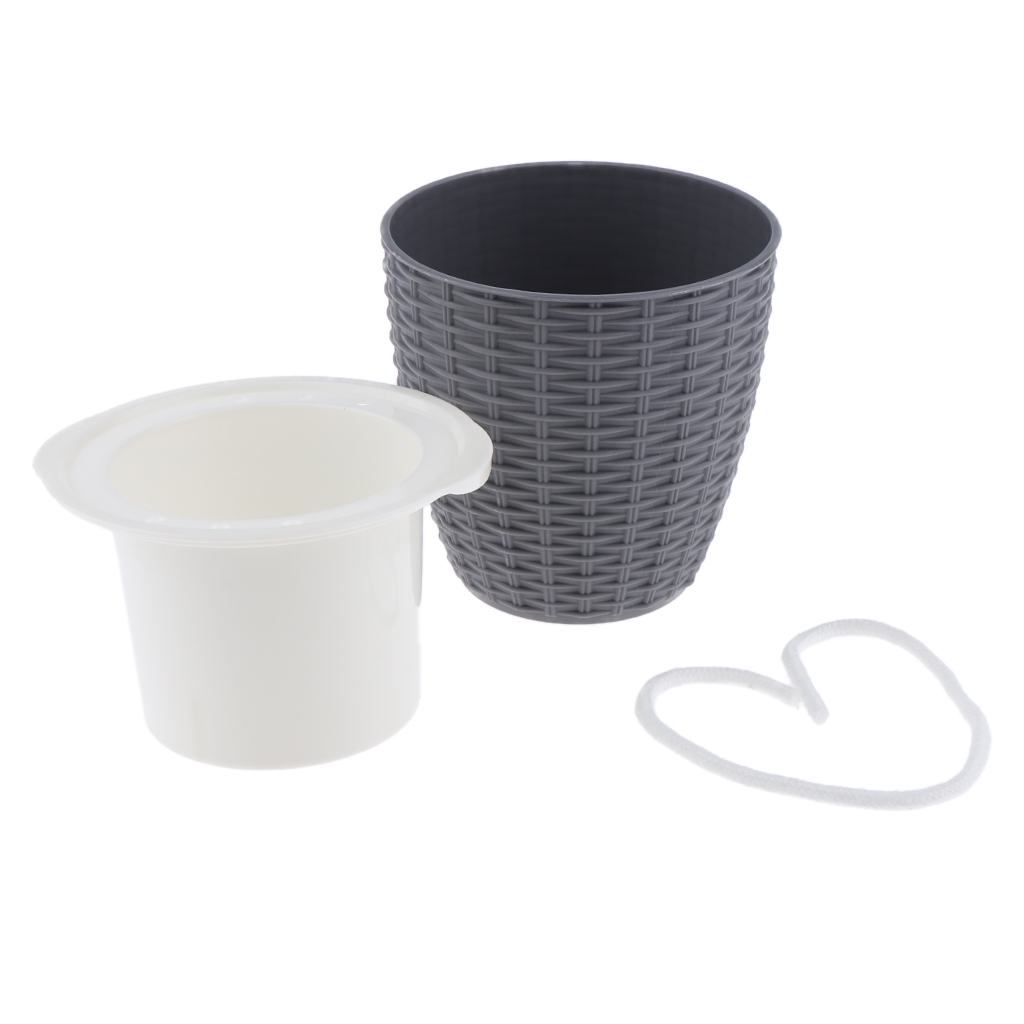 Self-Watering-ABS-Rattan-Flower-Pot-Plant-Home-Office-Decor-S-M-L-3Sizes thumbnail 3