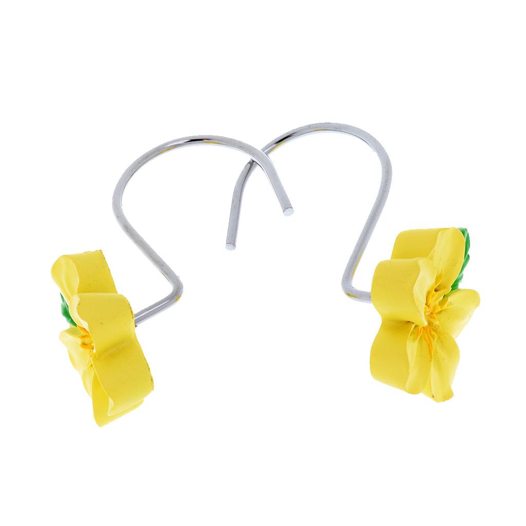 12-Pezzi-di-Ganci-Decorativi-Resina-Fiore-Doccia-Tenda-Gancio-Hook-Supporto miniatura 13