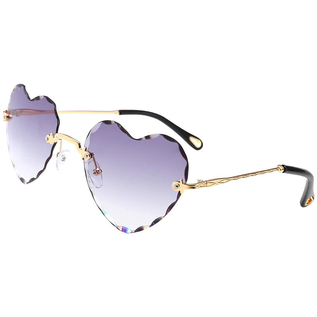 Grande cuore a forma di occhiali da sole da donna Occhiali Pilota Occhiali CUORE Montatura in metallo