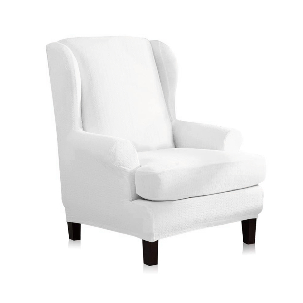2-Piece Stretch Wing Back Sofa Cover Wingback Armchair ...