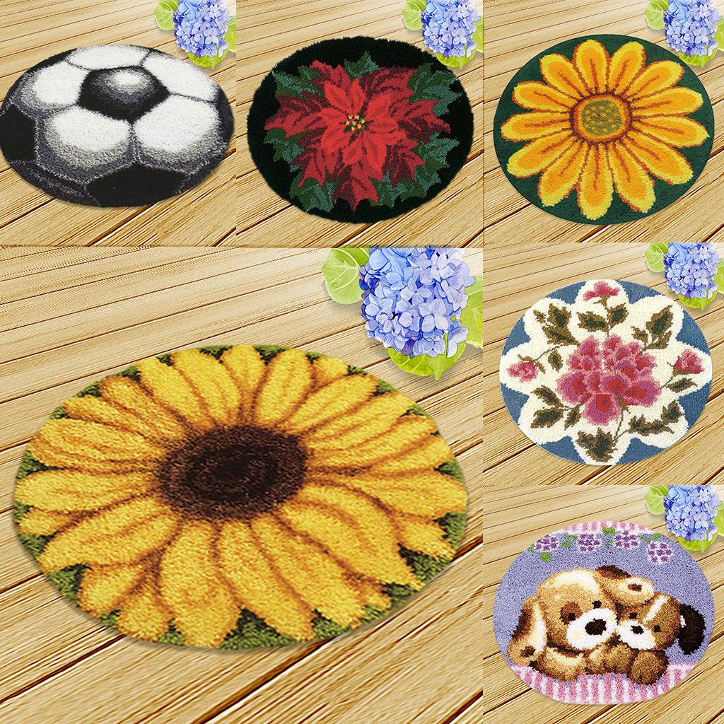 Details About Diy Latch Hook Rug Kit Embroidery Flower Dog Cushion Craft Kits For Adults 19 6