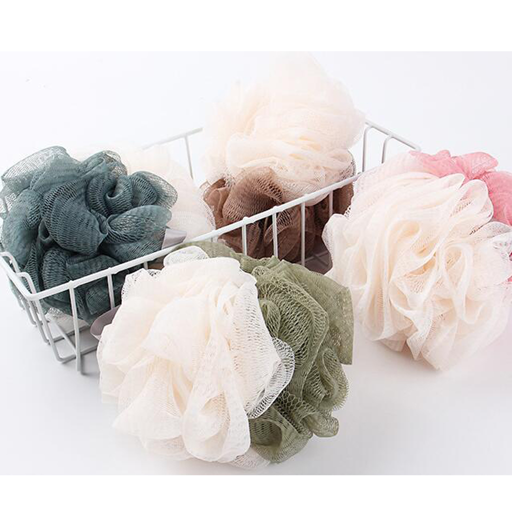 4 Pcs Bath Pouf Shower Puff Sponge Mesh Net Ball Body Exfoliate