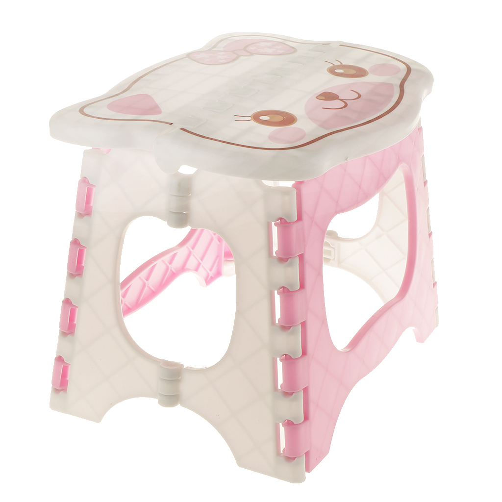 Folding Chair Step Stool Sturdy Plastic Seat Kids Easy