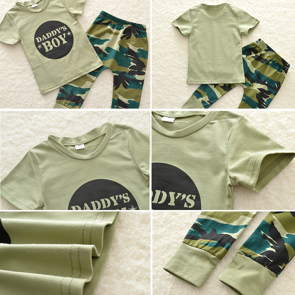 Bebe-Garcon-Fille-Camo-T-shirt-Hauts-Pantalons-Tenues-Ensemble-Vetements miniature 13