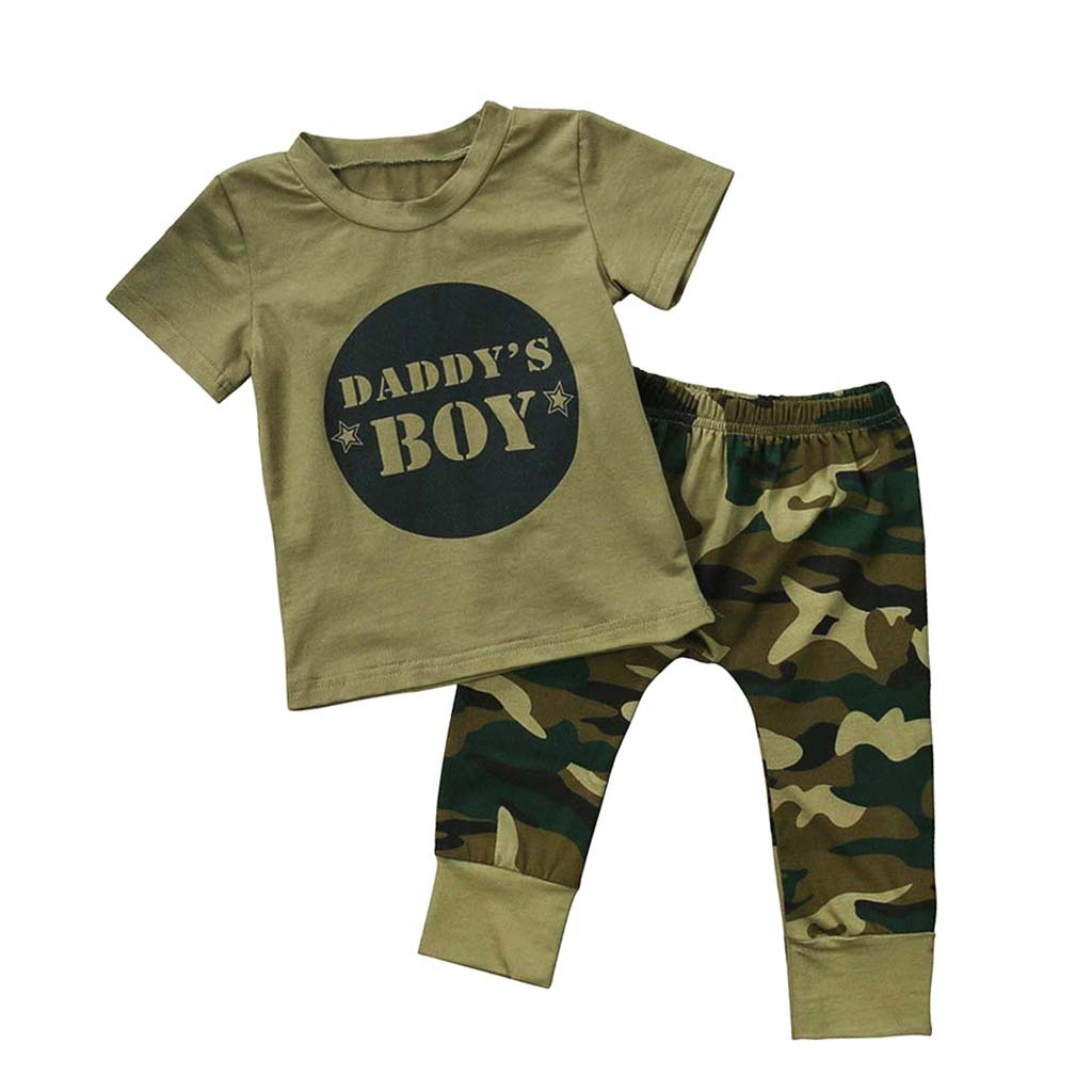 Bebe-Garcon-Fille-Camo-T-shirt-Hauts-Pantalons-Tenues-Ensemble-Vetements miniature 12