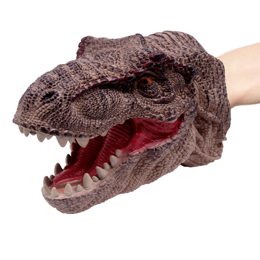 Large Soft Dinosaur Animal Head Model Hand Puppet Kids ...