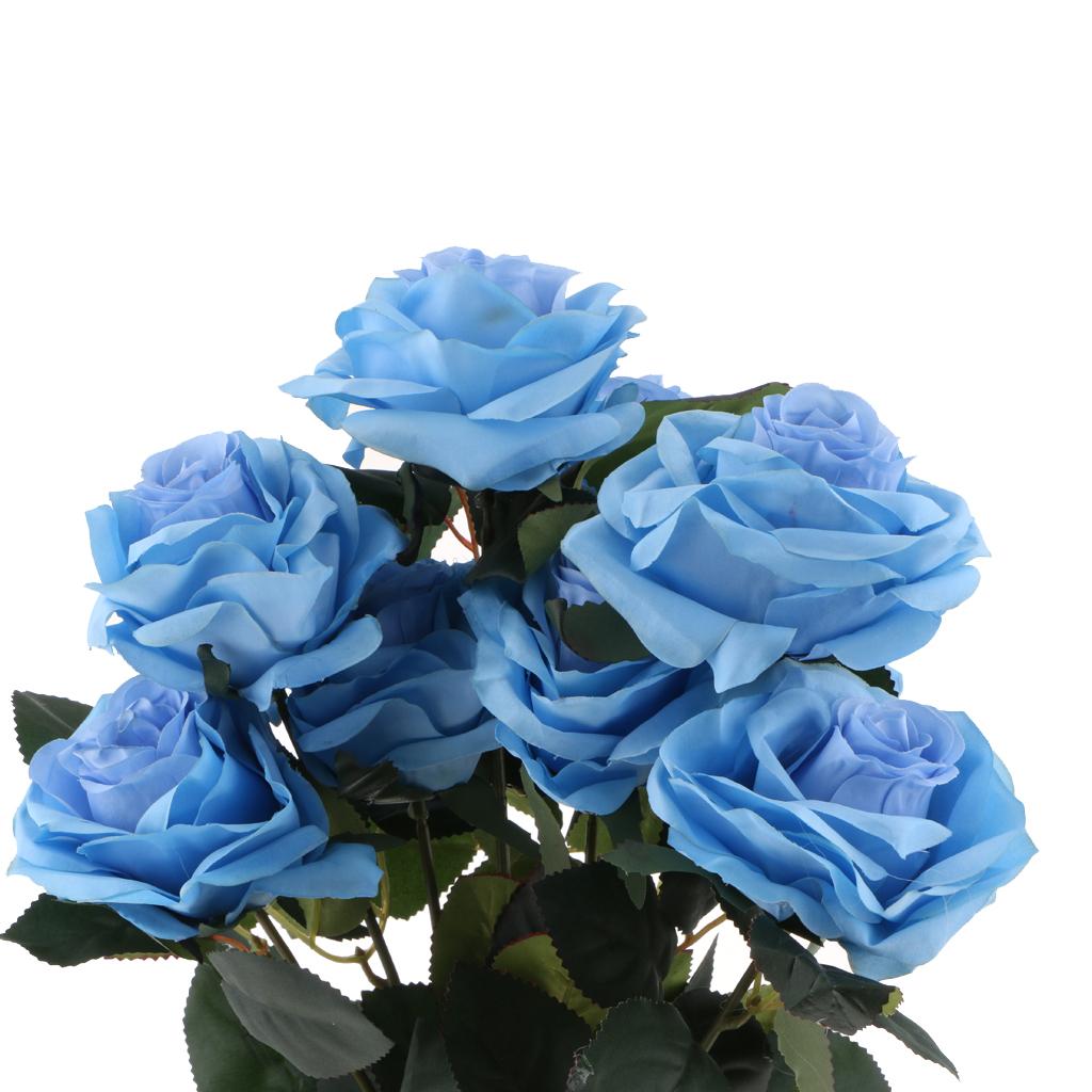 144Str künstliche Blumen Mini Schaum Rosen mit Stamm Hochzeitsstrauß Dekor Set