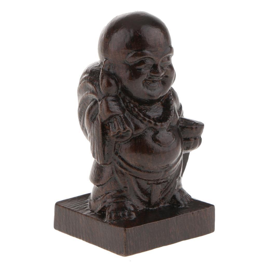 miniatura 7 - Statua Buddista Figurina Artigianale Ornamenti Supporto Tavolo Legno