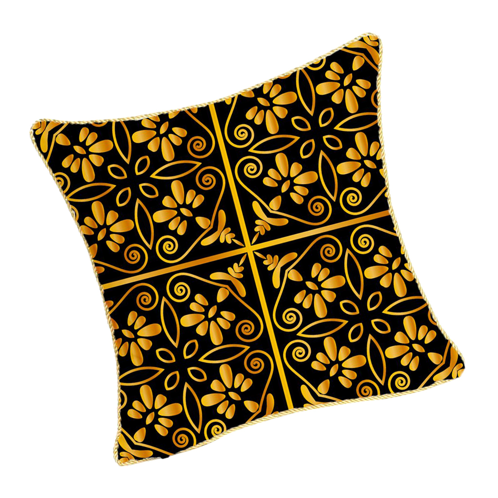 Square-Flannel-Pillowcase-Three-Stranded-Rope-Gold-Trimmed-Covers-Zipper miniature 13