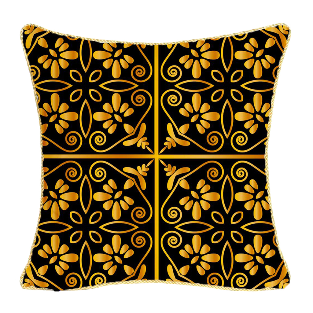 Square-Flannel-Pillowcase-Three-Stranded-Rope-Gold-Trimmed-Covers-Zipper miniature 14