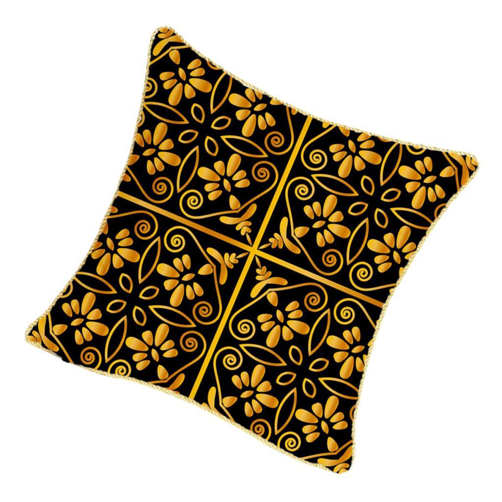 Square-Flannel-Pillowcase-Three-Stranded-Rope-Gold-Trimmed-Covers-Zipper miniature 16
