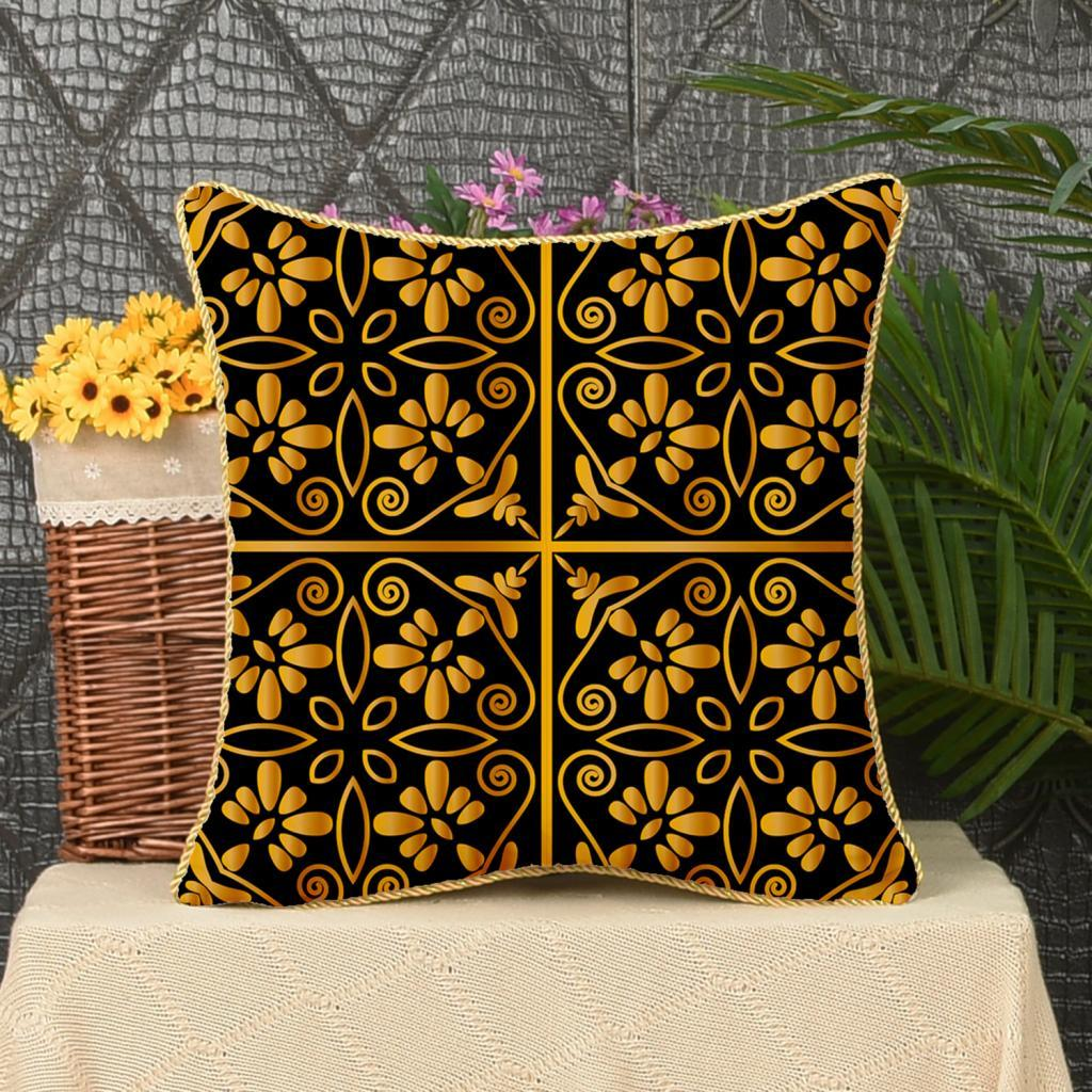 Square-Flannel-Pillowcase-Three-Stranded-Rope-Gold-Trimmed-Covers-Zipper miniature 15