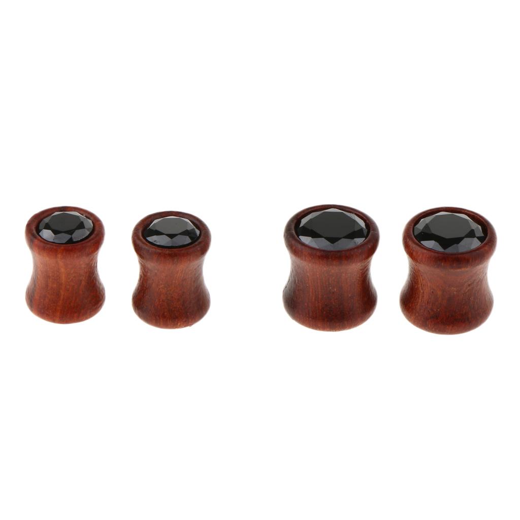 2Pcs-Barelle-per-calibri-tunnel-in-legno-di-zirconite-vintage-rosso-sandalo miniatura 13
