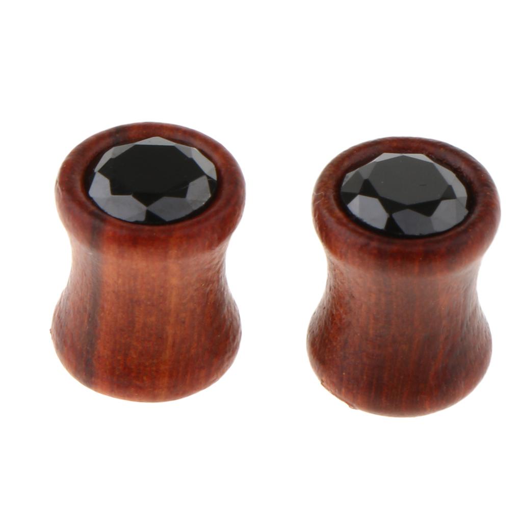 2Pcs-Barelle-per-calibri-tunnel-in-legno-di-zirconite-vintage-rosso-sandalo miniatura 12