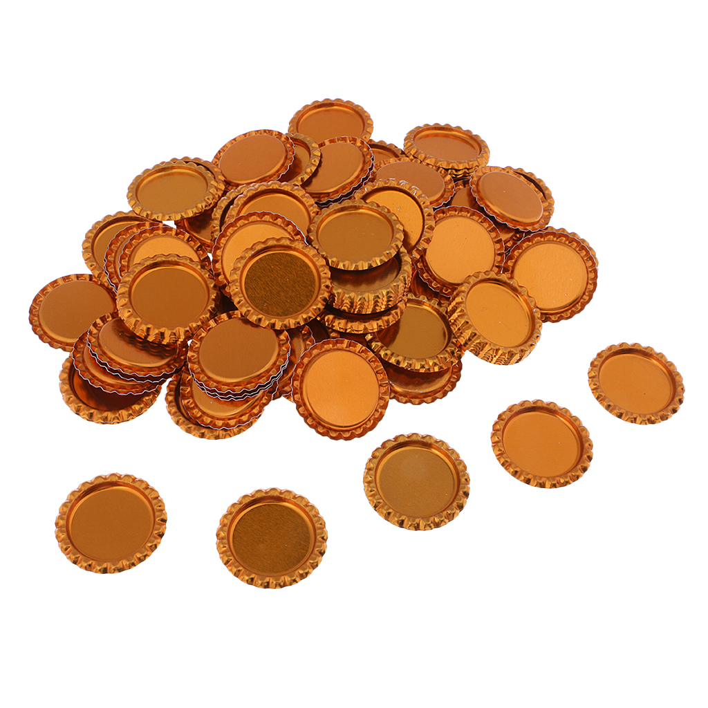 100x Mixed DOUBLE SIDED LINERLESS Bottle Caps Craft Scrapbook Embellishment