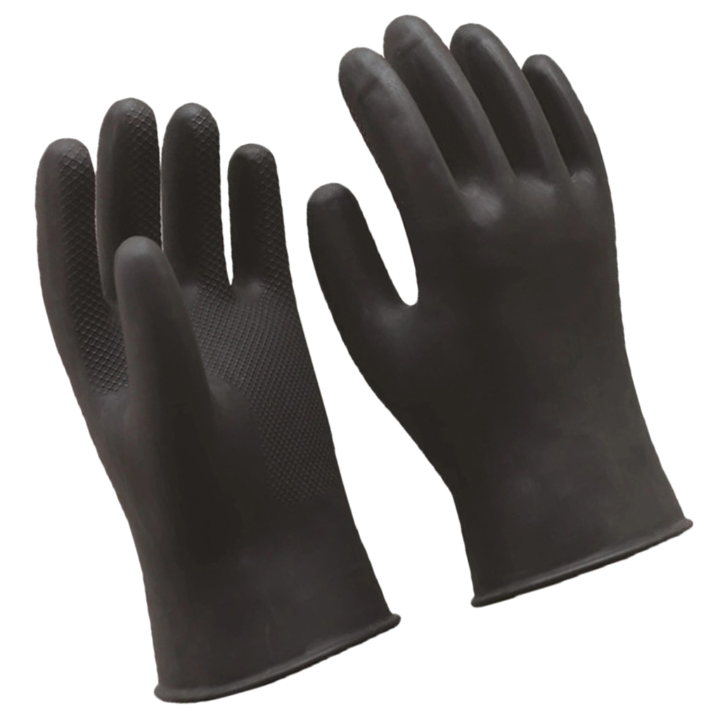 2 Pairs Heavy Duty Industrial Latex Rubber Gloves Acid Resistant Black 60cm