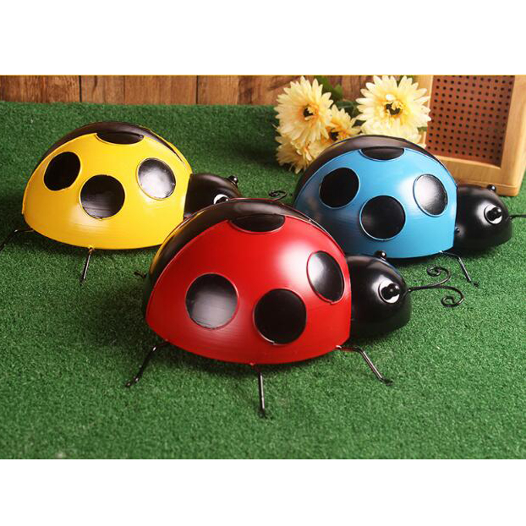 Metal-Ladybug-Garden-Decoration-Wall-Hanging-Sculpture-Figure-Hanger-Decor thumbnail 3