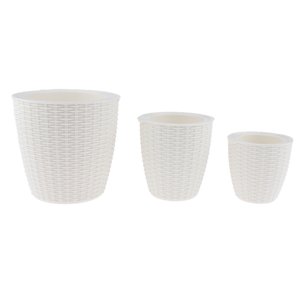 Self-Watering-ABS-Rattan-Flower-Pot-Plant-Home-Office-Decor-S-M-L-3Sizes thumbnail 7